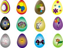 Twelve Easter eggs Stock Photography