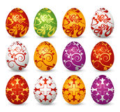 Twelve easter eggs, vector Royalty Free Stock Photos
