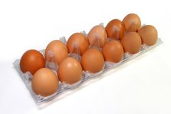 Twelve eggs in clear package.  Royalty Free Stock Images