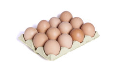 Twelve eggs in a dozen eggs cardboard Royalty Free Stock Photo