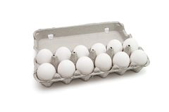 Twelve eggs in a paper box isolated royalty free stock photo