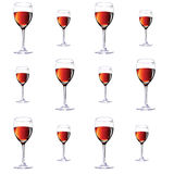Twelve glasses with red wine.Vector illustration Stock Photo