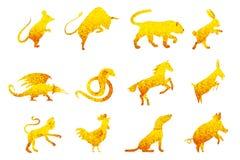 Twelve golden chinese year lunar zodiac horoscope symbols Stock Images
