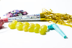Twelve grapes and utensils for New Years Royalty Free Stock Photos