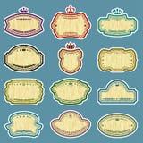 Twelve  grunge labels. (CMYK colors Royalty Free Stock Photo