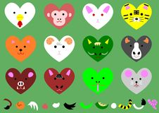 Twelve heart-shaped animals of the zodiacal signs.  vector illustration