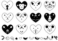 Twelve heart-shaped animals of the zodiacal signs Royalty Free Stock Photography