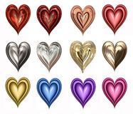 Twelve hearts on white Royalty Free Stock Photos