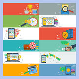 Twelve horizontal flat banners without text. Vector horizontal banners time management, work planning, online payment, financial operation, money banking Stock Image
