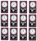 Twelve hour clock wood isolated Royalty Free Stock Photo