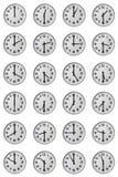 Twelve hours. 24 clocks shows Twelve hours stock photo