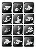Twelve icon wildlife in dimension glossy button design Royalty Free Stock Images