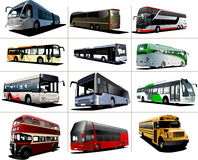 Twelve kinds of  city buses Royalty Free Stock Photography