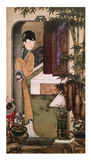 Twelve Lady Portraits, famous Chinese painting. Leaning On The Door, one of Twelve Lady Portraits, Chinese meticulous figure painting during emperor Yongzheng royalty free stock image