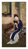 Twelve Lady Portraits, famous Chinese painting. Looking into the Mirror, one of Twelve Lady Portraits, Chinese meticulous figure painting during emperor Stock Images