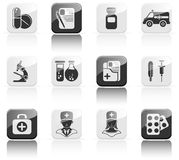 Twelve medical icons Stock Photography