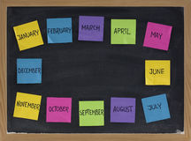 Twelve months on blackboard Royalty Free Stock Photo
