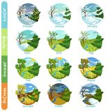 Twelve months of the year set, four seasons nature landscape winter, spring, summer, autumn vector illustrations Stock Illustration