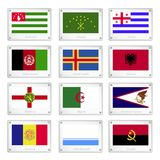 Twelve National Flags on Metal Texture Plate Royalty Free Stock Photography
