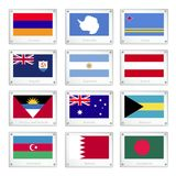 Twelve National Flags on Metal Texture Plates Stock Photo