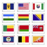 Twelve National Flags on Metal Texture Plates Stock Photography
