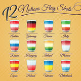 Twelve nations flag Shots. Set of twelve nations flag Shots - for celebration occasions like world cup football Royalty Free Stock Photography