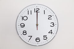 Twelve o'clock. Exactly twelve o'clock on a wall clock Stock Image