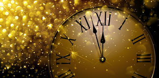 Twelve o Clock on New Year s Eve. In colored gold. Vector illustration royalty free illustration