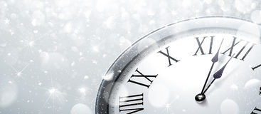 Twelve o Clock on New Year s Eve. In colored silver. Vector illustration Stock Photo