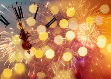 Twelve o`clock - new year`s eve Stock Image