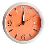 Twelve o'clock on orange dial isolated on white Stock Images
