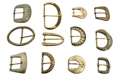 Twelve old belt  buckles Stock Image