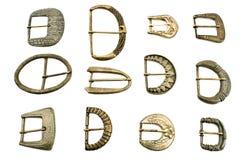 Twelve old belt  buckles Stock Image