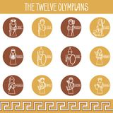 The Twelve Olympians icons set. Greek pantheon Stock Photography