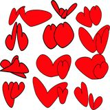 Twelve pairs of red hearts with black fine stroke. Twelve pairs of round and oval, elongated and long red hearts with a subtle stroke drawn Stock Photos