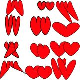 Twelve pairs of red hearts with black fine stroke. Twelve pairs of round and oval, elongated and long red hearts with a subtle stroke drawn Royalty Free Stock Photo