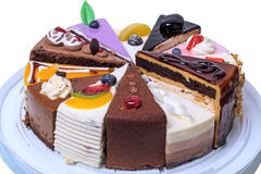 Twelve pieces of cake on a tray Stock Images