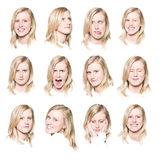 Twelve portraits of a young woman Stock Photos