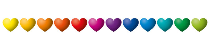 Twelve rainbow colored hearts in a row. Heart symbols in twelve unique color hues. Isolated illustration on white background. Vector Stock Photography