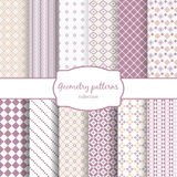 Twelve retro different vector seamless patterns Stock Photos