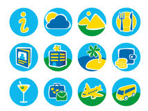 Twelve round icons for a travel Royalty Free Stock Image