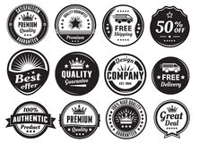 Twelve Scalable Vintage Badges vector illustration
