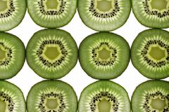 Twelve segments of a kiwi fruit Royalty Free Stock Images