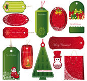 Twelve Sets of Christmas tags. Royalty Free Stock Photography