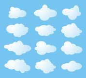 Twelve shapes of clouds Royalty Free Stock Image