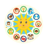 Twelve signs of the zodiac. Funny illustration of the twelve zodiac signs Stock Images