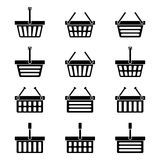 Twelve silhouettes of shopping baskets icons Royalty Free Stock Photo