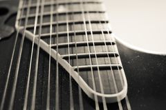 12 string acoustic guitar black and white royalty free stock photography