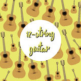 Twelve string acoustic guitars on colored background Stock Photography