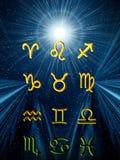 Twelve symbols of the zodiac. Space horoscope royalty free illustration